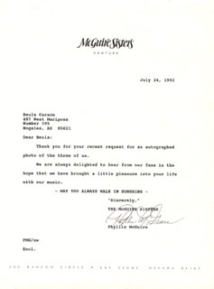 THE McGUIRE SISTERS (PHYLLIS McGUIRE) - TYPED LETTER SIGNED 07/24/1992