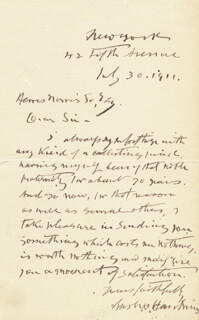 BRIGADIER GENERAL RUSH C. HAWKINS - AUTOGRAPH LETTER SIGNED 07/30/1911