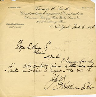 FRANCIS HOPKINSON SMITH - AUTOGRAPH NOTE SIGNED 03/04/1893