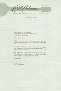 BILL WHISPERING BILL ANDERSON - TYPED LETTER SIGNED 01/06/1966