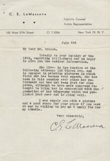 CLARENCE EDWARD LE MASSENA - TYPED LETTER SIGNED 7/22