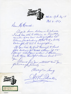 ARTHUR TRACY - AUTOGRAPH LETTER SIGNED 02/09/1967
