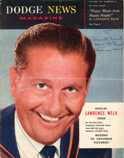 LAWRENCE WELK - INSCRIBED MAGAZINE SIGNED