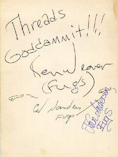 THE FUGS - AUTOGRAPH CO-SIGNED BY: THE FUGS (KEN WEAVER), THE FUGS (ED SANDERS), THE FUGS (JOHN ANDERSON)