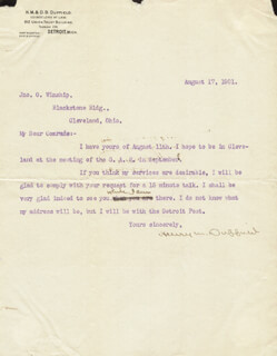 Autographs: BRIGADIER GENERAL HENRY M. DUFFIELD - TYPED LETTER SIGNED 08/17/1901