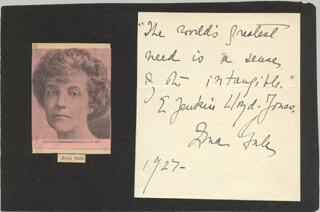 ZONA GALE - AUTOGRAPH QUOTATION SIGNED 1927