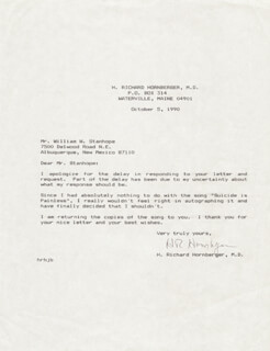 H. RICHARD (RICHARD HOOKER) HORNBERGER - TYPED LETTER SIGNED 10/05/1990