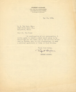 RUPERT HUGHES - DOCUMENT SIGNED 05/14/1932