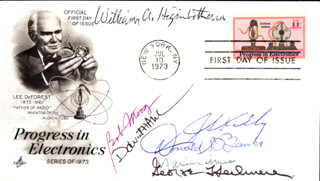 JACK S. KILBY - FIRST DAY COVER SIGNED CO-SIGNED BY: WILLIAM A. HIGINBOTHAM, DONALD S. BANKS, ROBERT A. MOOG, MARVIN CAMRAS, GEORGE H. HEILMEIER, DAVID H. AHL