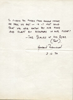 HOWARD NEMEROV - AUTOGRAPH POEM SIGNED 09/03/1970