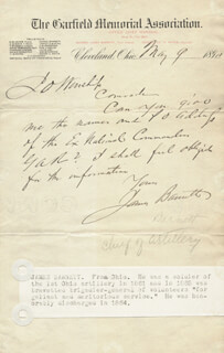 Autographs: BRIGADIER GENERAL JAMES BARNETT - AUTOGRAPH LETTER SIGNED 05/09/1890