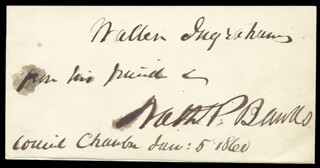 Autographs: MAJOR GENERAL NATHANIEL P. BANKS - AUTOGRAPH NOTE SIGNED 06/05/1860