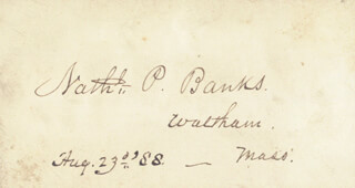 Autographs: MAJOR GENERAL NATHANIEL P. BANKS - SIGNATURE(S) 08/23/1888