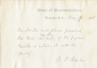 Autographs: MAJOR GENERAL NATHANIEL P. BANKS - AUTOGRAPH NOTE SIGNED 05/08/1878