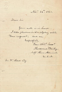 Autographs: REAR ADMIRAL THEODORUS BAILEY - AUTOGRAPH LETTER SIGNED 11/24/1862