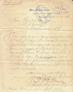 PHILETUS SAWYER - AUTOGRAPH ENDORSEMENT SIGNED 08/04/1886 CO-SIGNED BY: BRIGADIER GENERAL OLIVER D. GREENE