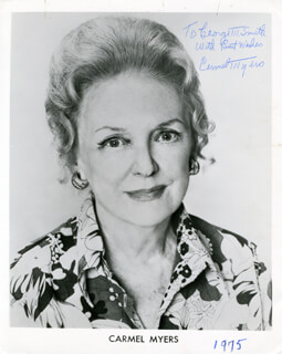 CARMEL MYERS - AUTOGRAPHED INSCRIBED PHOTOGRAPH 1975