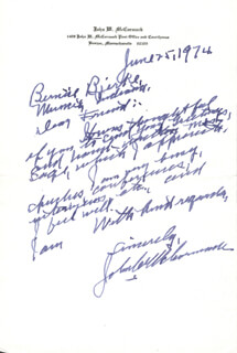 JOHN W. McCORMACK - AUTOGRAPH LETTER SIGNED 06/25/1974