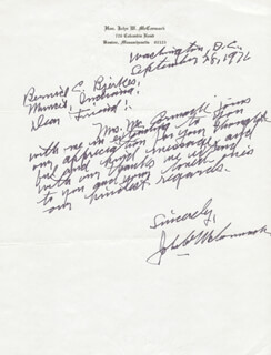 JOHN W. McCORMACK - AUTOGRAPH LETTER SIGNED 09/28/1976