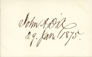 Autographs: MAJOR GENERAL JOHN A. DIX - SIGNATURE(S) 01/29/1875