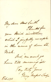 MARY MAPES DODGE - AUTOGRAPH LETTER SIGNED 10/23