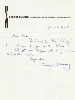 GEORGE DUNING - AUTOGRAPH LETTER SIGNED 01/12/1975