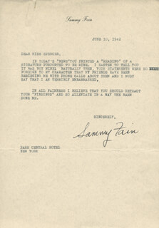 SAMMY FAIN - TYPED LETTER SIGNED 06/10/1942