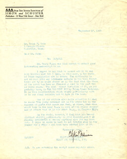 CLIFTON P. FADIMAN - TYPED LETTER SIGNED 09/17/1929