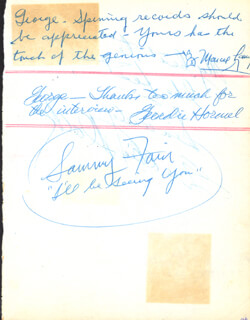 SAMMY FAIN - AUTOGRAPH SENTIMENT SIGNED CO-SIGNED BY: FREDDIE SLACK, GEORDIE HORMEL