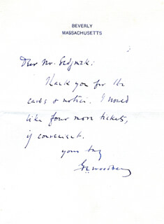 GEORGE EDWARD WOODBERRY - AUTOGRAPH LETTER SIGNED