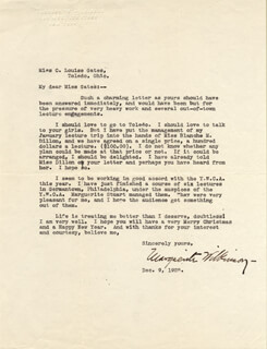 MARGUERITE WILKINSON - TYPED LETTER SIGNED 12/09/1925