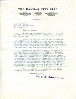 PAUL ISELIN WELLMAN - TYPED LETTER SIGNED 12/11