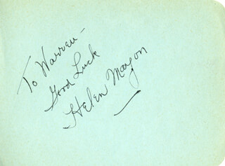 HELEN MAYON - AUTOGRAPH NOTE SIGNED