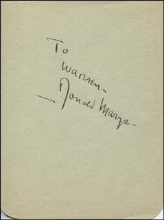 DONALD MARYE - INSCRIBED SIGNATURE