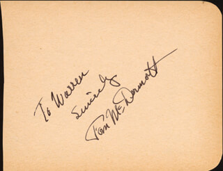 TOM McDERMOTT - AUTOGRAPH NOTE SIGNED