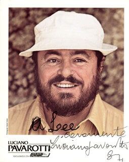 LUCIANO PAVAROTTI - AUTOGRAPHED INSCRIBED PHOTOGRAPH 1987