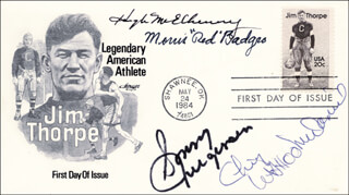 SONNY JURGENSEN - FIRST DAY COVER SIGNED CO-SIGNED BY: MORRIS RED BADGRO, HUGH McELHENNY, CHIEF WAHOO McDANIELS