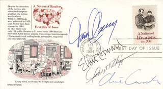TOM CLANCY - FIRST DAY COVER SIGNED CO-SIGNED BY: ELMORE J. LEONARD JR., CLIVE CUSSLER, GEORGE V. HIGGINS