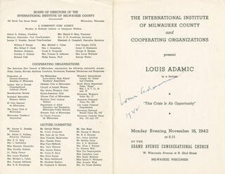 Autographs: LOUIS ADAMIC - PROGRAM SIGNED 1942