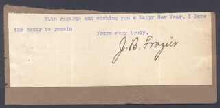 GOVERNOR JAMES BERIAH FRAZIER - TYPED SENTIMENT SIGNED