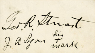Autographs: GEORGE R. STUART - CALLING CARD SIGNED CO-SIGNED BY: JAMES A. LYONS