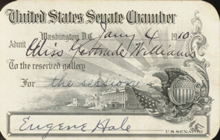 EUGENE HALE - PASS SIGNED 01/04/1910