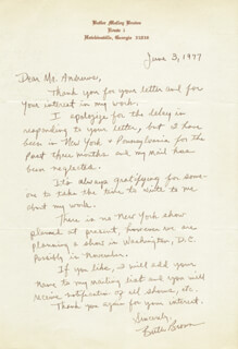 BUTLER M. BROWN - AUTOGRAPH LETTER SIGNED 06/03/1977