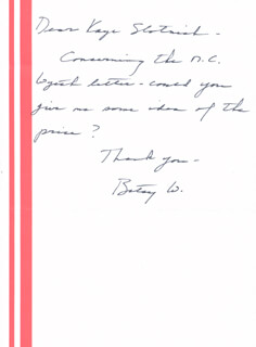 BETSY WYETH - AUTOGRAPH LETTER SIGNED CIRCA 1980