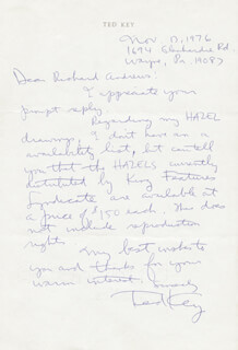 TED KEY - AUTOGRAPH LETTER SIGNED 11/13/1976