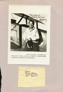 ERNEST K. GANN - AUTOGRAPHED INSCRIBED PHOTOGRAPH