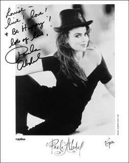 Autographs: PAULA J. ABDUL - INSCRIBED PRINTED PHOTOGRAPH SIGNED IN INK
