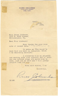 RUSS COLUMBO - TYPED LETTER SIGNED 04/29/1932