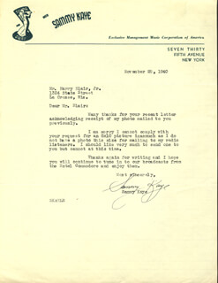 SAMMY KAYE - TYPED LETTER SIGNED 11/28/1940