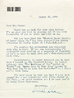 DINAH SHORE - TYPED LETTER SIGNED 08/26/1940